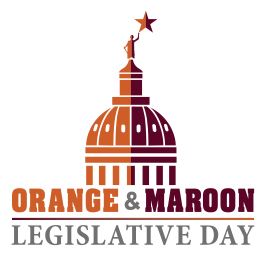 Orange & Maroon Legislative day graphic